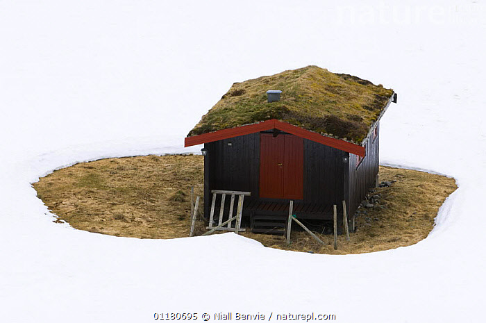 The case for house insulation - Cabin with melted snow around it illustrating the need for heat insulation, Norway 2007, BUILDINGS,ENERGY,ENVIRONMENTAL,EUROPE,INSULATION,NORWAY,SCANDINAVIA,SNOW,WINTER, Scandinavia, Scandinavia, Scandinavia, Scandinavia,Catalogue1, Niall Benvie