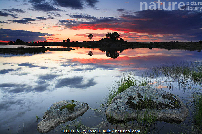 Sunset over lake in Los barruecos NP, Malpartida de Caceres, Extremadura, Spain  ,  EUROPE,LAKES,LANDSCAPES,REFLECTIONS,SPAIN,SUNSETS,WATER  ,  Jose B. Ruiz