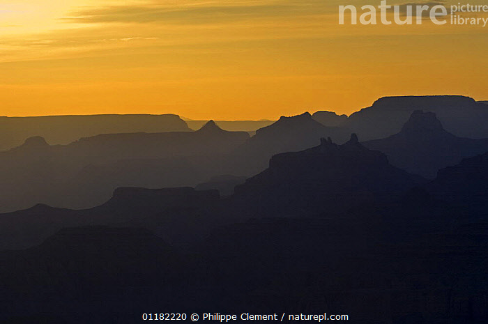 Sunset over the Grand Canyon, Grand Canyon NP, Arizona, USA  ,  NORTH AMERICA,NORTH AMERICA,RESERVE,ROCK FORMATIONS,ROCKS,SILHOUETTES,SKY,SUNSET,Geology,USA  ,  Philippe Clement