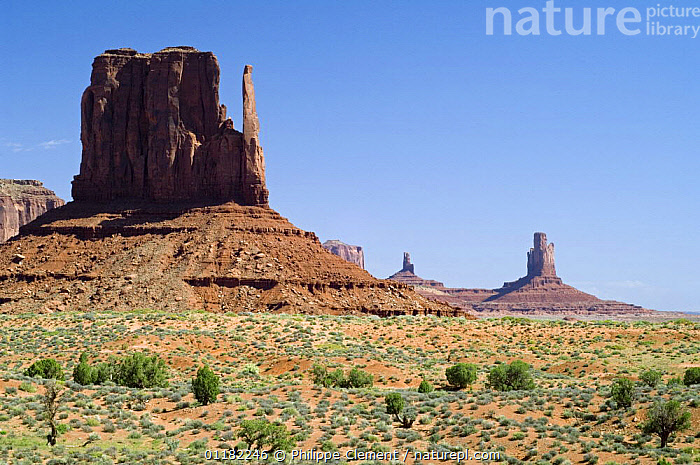 The Mittens, Monument Valley Navajo Tribal Park, Arizona, USA May 2007  ,  EROSION,GEOLOGY,LANDSCAPES,NORTH AMERICA,NORTH AMERICA,RESERVE,ROCK FORMATIONS,ROCKS,USA  ,  Philippe Clement