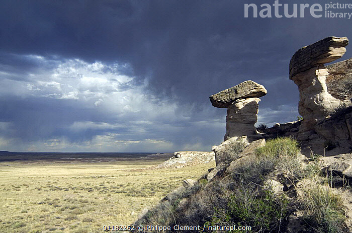 Storm clouds above eroded rocks,  Badlands, Painted Desert and Petrified Forest NP, Arizona, USA May 2007  ,  ATMOSPHERIC,CLOUDS,DESERTS,EROSION,GEOLOGY,LANDSCAPES,NORTH AMERICA,NORTH AMERICA,RESERVE,ROCK FORMATIONS,WEATHER,USA  ,  Philippe Clement