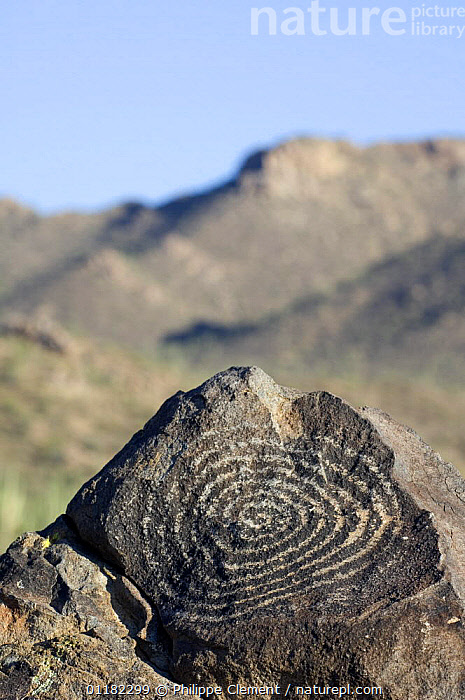 Rock art, created by the Hohokam Indians, showing spiral petroglyph with the Tucson Mountains in the background, Saguaro NP, Arizona, USA  ,  ANCIENT,ART,DESERTS,MOUNTAINS,NORTH AMERICA,NORTH AMERICA,RESERVE,ROCKS,USA,VERTICAL  ,  Philippe Clement