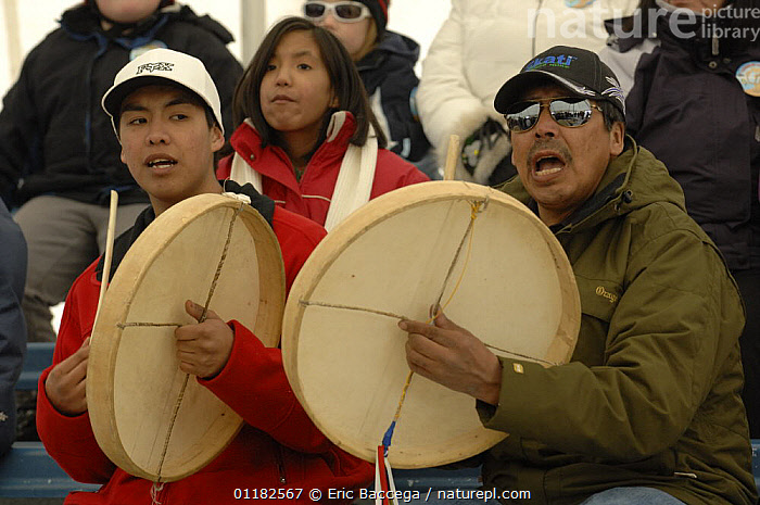 Dene people singing traditional song and playing Dene Hand games, Yellowknife, Northwest Territories, Canada March 2007  ,  BEHAVIOUR,CANADA,GROUPS,NORTH AMERICA,PEOPLE,TRADITIONAL,TRIBES  ,  Eric Baccega