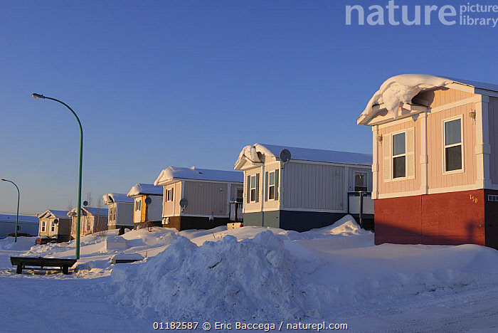 Typical mobile homes in Yellowknife, Northwest Territories, Canada March 2007  ,  BUILDINGS,NORTH AMERICA,SNOW,URBAN,WINTER  ,  Eric Baccega