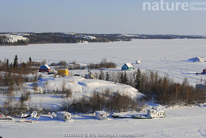 Yellowknife Bay, Great Slave lake, Northwest Territories, Canada March 2007  ,  BOATS,BUILDINGS,FROZEN,LANDSCAPES,NORTH AMERICA,SNOW,URBAN,WINTER,CANADA  ,  Eric Baccega