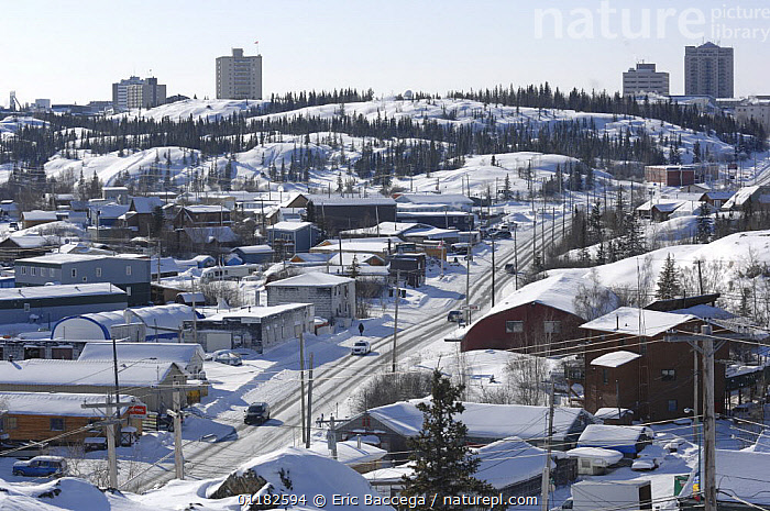 Yellowknife, Capital of the Northwest Territories, Canada. March 2007  ,  BUILDINGS,CITIES,LANDSCAPES,NORTH AMERICA,SNOW,URBAN,WINTER  ,  Eric Baccega