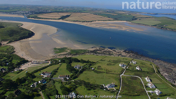 Aerial view above Daymer Bay across the River Camel estuary towards Padstow, low tide, Cornwall, England, 2007  ,  AERIALS,BEACHES,COASTS,estuaries,HORIZONTAL,LANDSCAPES,RIVERS,sand,SUMMER,Europe,ENGLAND  ,  Dan Burton