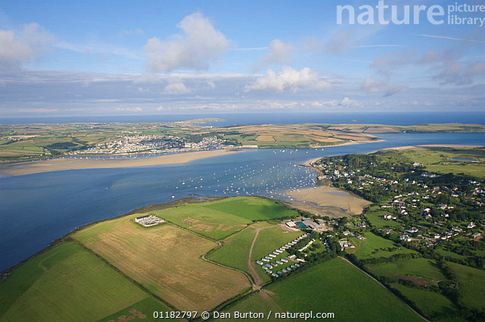 Aerial view of Padstow and river Camel, Cornwall, UK  ,  AERIALS,BEACHES,COASTS,ESTUARIES,EUROPE,FIELDS,LANDSCAPES,RIVERS,UK,United Kingdom,British,ENGLAND  ,  Dan Burton