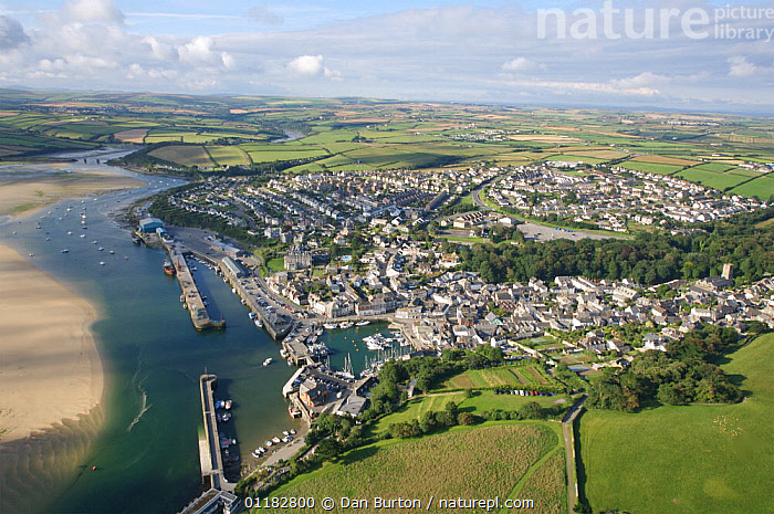 Aerial view of Padstow, Cornwall, UK  ,  AERIALS,BUILDINGS,COASTS,EUROPE,HARBOUR,LANDSCAPES,PORT,PORTS,RIVERS,TOWNS,UK,United Kingdom,British,ENGLAND, United Kingdom, United Kingdom  ,  Dan Burton