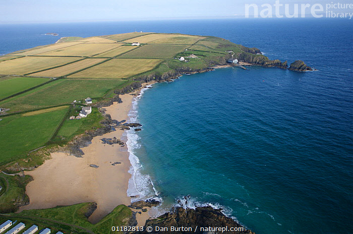 Aerial view of Mother Ive's Bay, Cornwall, UK  ,  AERIALS,BEACHES,COASTS,EUROPE,FIELDS,HEADLAND,LANDSCAPES,SEA,UK,United Kingdom,British,ENGLAND, United Kingdom, United Kingdom  ,  Dan Burton