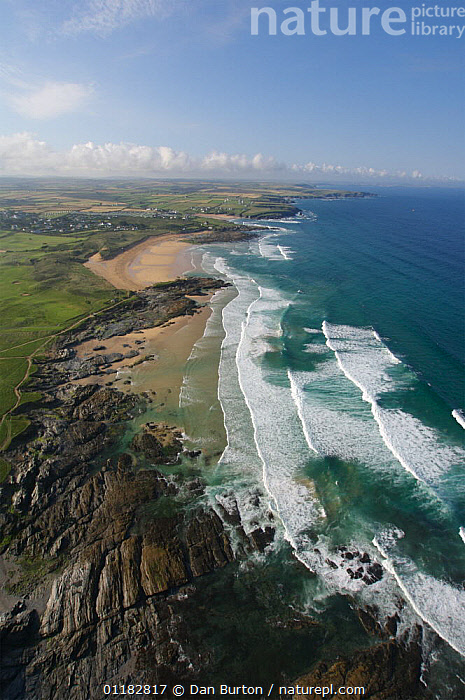 Aerial view of Boob's Bay & Contantine Bay, Cornwall, UK  ,  AERIALS,BEACHES,COASTS,EUROPE,LANDSCAPES,ROCKS,SEA,UK,VERTICAL,United Kingdom,British,ENGLAND, United Kingdom, United Kingdom  ,  Dan Burton