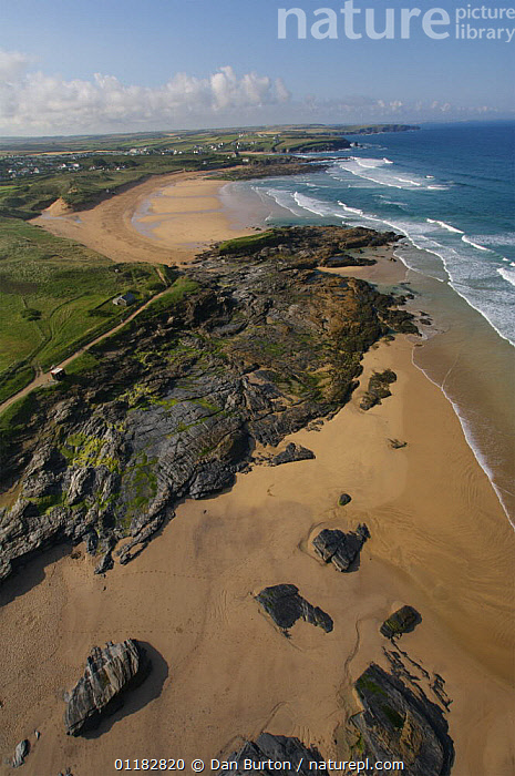 Aerial view of Contantine Bay at low tide, Cornwall, UK  ,  AERIALS,BEACHES,COASTS,LANDSCAPES,ROCKS,SAND,VERTICAL,ENGLAND,Europe  ,  Dan Burton