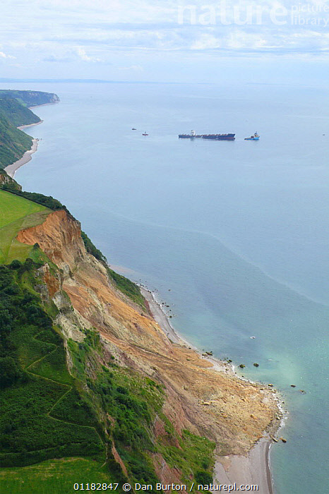 Aerial views of the shipwreck 'Napoli' sitting off the Devon coastline near Sidmouth and Branscombe, UK  ,  AERIALS,COASTS,EUROPE,LANDSCAPES,SHIPWRECK,UK,VERTICAL,WRECK,United Kingdom,British,ENGLAND, United Kingdom, United Kingdom  ,  Dan Burton
