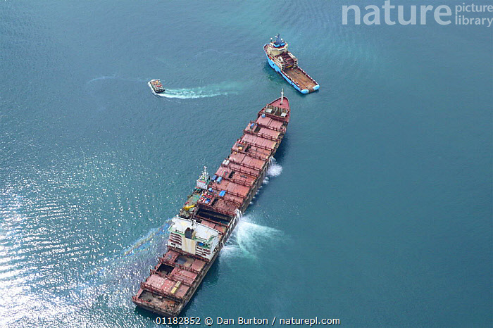 Aerial view of the shipwrecked 'Napoli' with tugs, near Sidmouth and Branscombe, Devon, UK, 2007  ,  AERIALS,BOATS,EUROPE,JANUARY,SHIPS,SHIPWRECK,UK,United Kingdom,British,ENGLAND, United Kingdom, United Kingdom  ,  Dan Burton