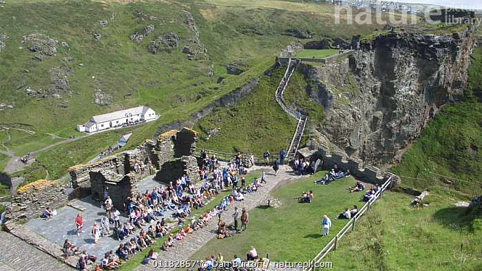 Aerial view of tourists at Tintagel castle ruins, Cornwall, UK  ,  ANCIENT,BUILDINGS,LANDSCAPES,PEOPLE,TOURISM,TOURISTS,ENGLAND,Europe  ,  Dan Burton
