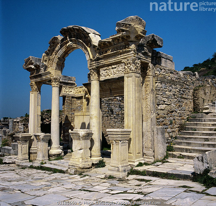 Temple of Hadrian at Ephesus,  ancient Greek site, Turkey  ,  ANCIENT,ASIA,BUILDINGS,MIDDLE-EAST  ,  Hans Christoph Kappel