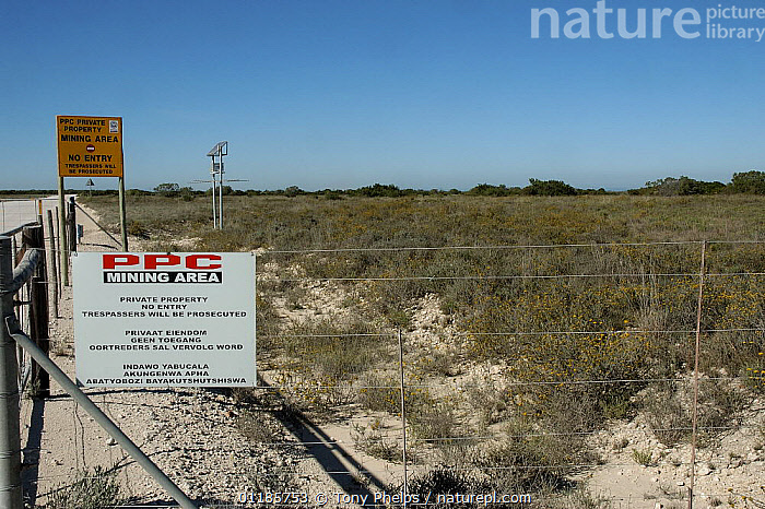 Threat to habitat of Albany adder {Bitis albanica} from cement mining operations, Grassy Ridge, nr Port Elizabth, South Africa.  ,  ADDERS,AFRICA,HABITAT,LANDSCAPES,REPTILES,SNAKE,SNAKES,SOUTHERN AFRICA,VERTEBRATES,VIPERS, Adders  ,  Tony Phelps
