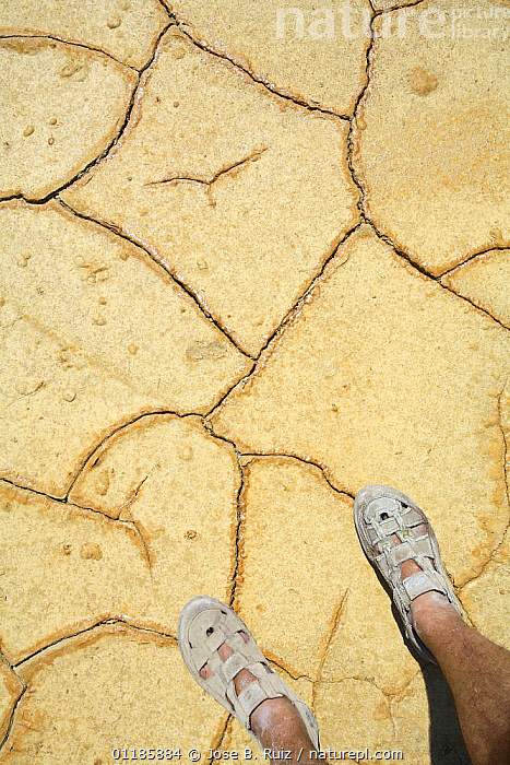Dry cracked earth during drought, Riotinto, Huelva, Spain, with pair of legs and feet wearing sandals  ,  ARTY,DRY SEASON,EUROPE,FEET,PATTERNS,PEOPLE,SPAIN,VERTICAL  ,  Jose B. Ruiz