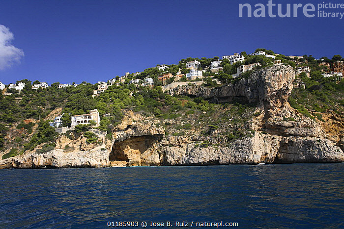 Coastal landscape with clifftop houses and caves, Javea, Alicante, Spain  ,  BUILDINGS,CLIFFS,COASTS,EUROPE,LANDSCAPES,MEDITERRANEAN,SEA,SPAIN,Geology  ,  Jose B. Ruiz