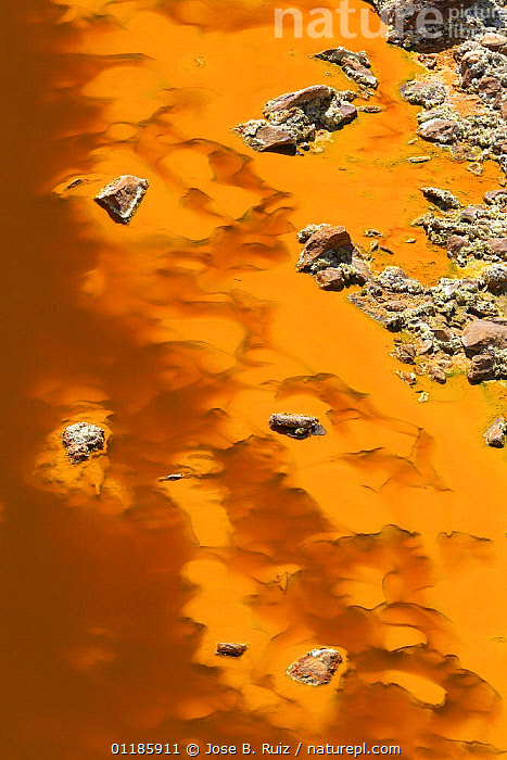 R�o Tinto, or Red River, very acidic and coloured deep red by iron dissolved in the water that drains from the local Riotinto mines causing severe environmental problems. Huelva, Spain