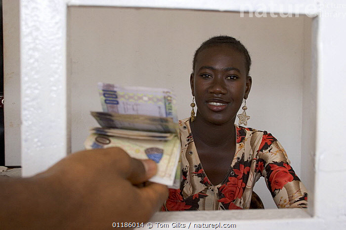 Woman bank clerk in foreign exchange office, Senegambia, Gambia, 2007  ,  AFRICA,MONEY,PEOPLE,PORTRAITS,WEST AFRICA,WORKING,WEST-AFRICA  ,  Tom Gilks