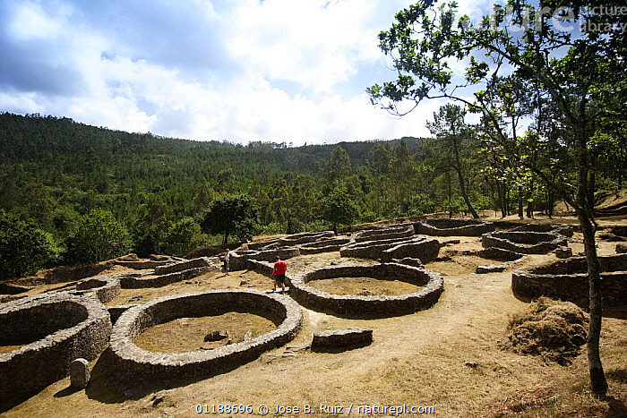 """Castro de Borneiro megalithic hill town """"a cida"""", Coast da Morte, Galicia, Spain  ,  ancient,archaeology,ARTIFACTS,BUILDINGS,EUROPE,FORESTS,HOMES,LANDSCAPES,OLD,PEOPLE,ruins,SPAIN,WOODLANDS  ,  Jose B. Ruiz"""
