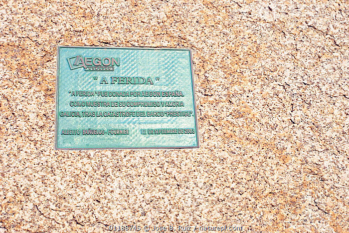 """Plaque on the Monument A Ferida (""""The Wound"""") at Muxia, Costa da Morte, Galacia, Spain  ,  ARTIFACTS,COASTS,EUROPE,LANDSCAPES,SIGNS,SPAIN  ,  Jose B. Ruiz"""