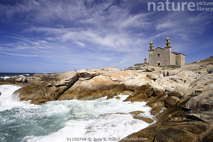 Church of our Lady of the Boats, on the coast of Muxia, Costa da Morte, Galicia, Spain  ,  BUILDINGS,CHURCHES,EUROPE,LANDSCAPES,OCEAN,ROCKS,SPAIN,WAVES  ,  Jose B. Ruiz