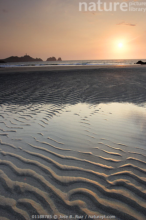 Water pool and sand ripples on the beach at Cape Vilan, Camarinas, Costa da Morte, Galicia, Spain  ,  ATLANTIC OCEAN,BEACHES,COASTS,EUROPE,LANDSCAPES,low tide,SPAIN,SUNSET,VERTICAL,Marine  ,  Jose B. Ruiz
