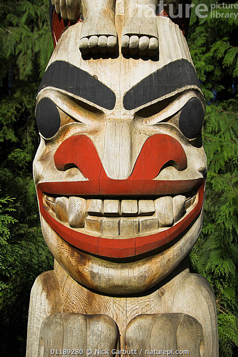 Totem pole in Great Bear Forest, British Columbia, Canada  ,  ARTIFACTS,CANADA,CRAFTS,FACES,NORTH AMERICA,TRADITIONAL,VERTICAL  ,  Nick Garbutt