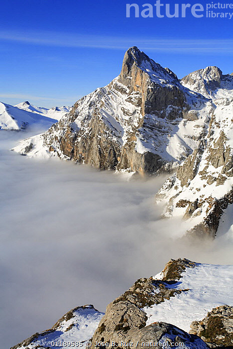 Fuente D�, mountain peaks appearing above the cloud level, Picos de Europa, Camale�o, Cantabria, Spain  ,  CLOUDS,EUROPE,LANDSCAPES,MOUNTAINS,RESERVE,SNOW,SPAIN,VERTICAL,Weather  ,  Jose B. Ruiz