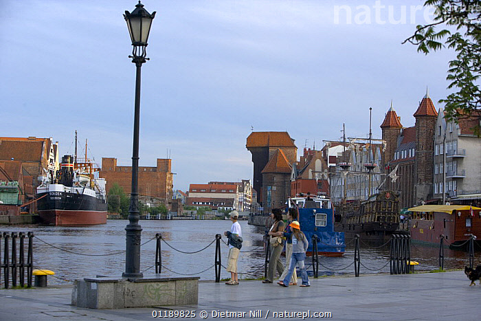 The city of Gdansk on the Vistula River, Poland  ,  BOATS,BUILDINGS,CITIES,EASTERN EUROPE,EUROPE,HARBOURS,PEOPLE,RIVERS  ,  Dietmar Nill