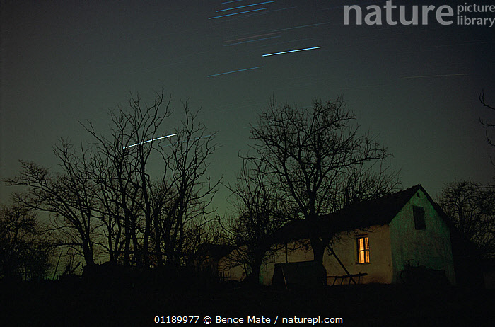 House with star trails, Hungary.  ,  HOMES,ATMOSPHERIC MOOD,ATMOSPHERIC,EUROPE,EASTERN EUROPE,EAST EUROPE,HUNGARY,PLANT,TREE,BUILDING,RESIDENTIAL STRUCTURE,HOUSE,HOUSES,OUTER SPACE,SPACE,THE UNIVERSE,UNIVERSE,STAR TRAIL,SKY,NIGHT,HOMES  ,  Bence  Mate