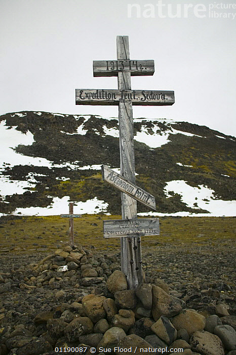 Commemorative monument at the old polar station at Tichaya Bay. Hooker Island, Franz Josef Land, Russian Arctic  ,  ARCTIC,EUROPE,MONUMENTS,SIGNS,SNOW,VERTICAL,CIS  ,  Sue Flood