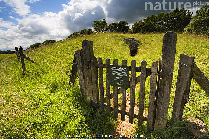 Hetty Pegler's Tump long barrow, prehistoric burial chamber, Cotswolds, Gloucestershire  ,  ANCIENT,ARCHEAOLOGY,BARROWS,EUROPE,GATES,LANDSCAPES,OLD,ROCKS,TOURISM,UK,ULEY,United Kingdom,British  ,  Nick Turner