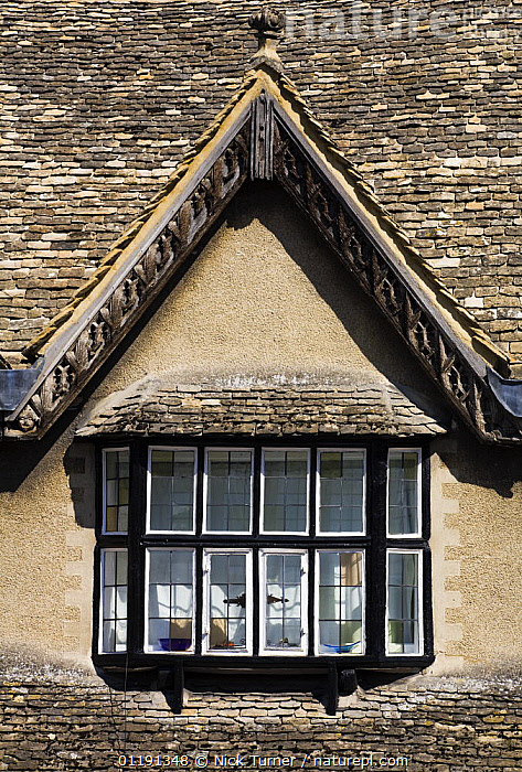 Gabled Cotswold roof on Burford high street, Burford, Oxfordshire, UK, ARCHITECTURE,BUILDINGS,EUROPE,GABLES ,ROOFS,TRADITIONAL,UK,VERTICAL,WINDOWS,United Kingdom,British, Nick Turner
