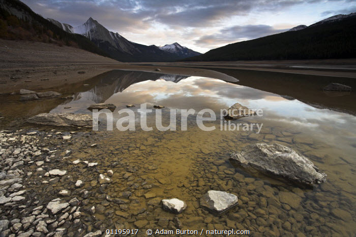 Late afternoon on the drained lakebed at Medicine Lake, Jasper National Park, Alberta, Canada. In Autumn the lake drains through an extensive undergound drainage system.  ,  GEOLOGY,INTERESTING,LAKES,LANDSCAPES,MOUNTAINS,NORTH AMERICA,NP,REFLECTIONS,RESERVE,ROCKS,SINKHOLE,National Park,CANADA,,Canadian Rocky Mountain Parks World Heritage Site, UNESCO World Heritage Site,Rocky Mountains,Rockies,NP,Reserve,  ,  Adam Burton
