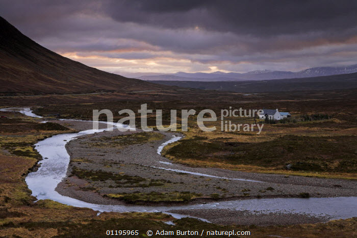 A small bothy (basic shelter) adds scale to the wide open expanse of Rannoch Moor, Highlands, Scotland  ,  ATMOSPHERIC,BUILDINGS,EUROPE,LANDSCAPES,MOORLAND,MOUNTAINS,RESERVE,RIVERS,TRADITIONAL,UK,United Kingdom,British,SCOTLAND  ,  Adam Burton