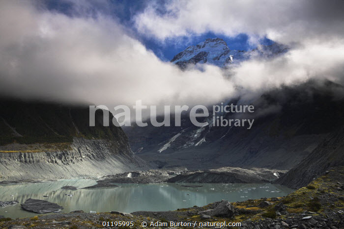 Glacial lake at toe of glacier in Mount Cook National Park, South Island, New Zealand  ,  AUSTRALASIA,CLOUDS,LAKES,LANDSCAPES,MOUNTAINS,NEW ZEALAND,NP,RESERVE,ROCKS,Weather,National Park  ,  Adam Burton