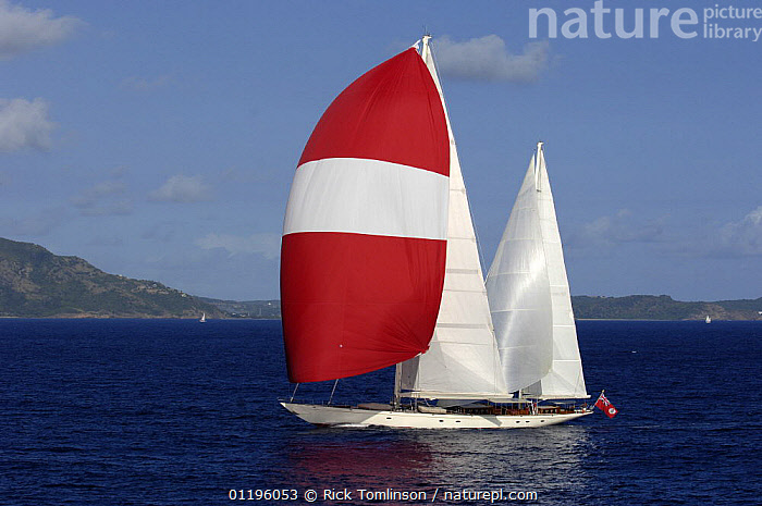 """SY """"Adele"""", 180 foot Hoek Design, underway just off the Antigua coast, January 2006. Non editorial uses must be cleared individually.  ,  AERIALS,ANTIGUA AND BARBUDA,BOATS,CARIBBEAN,COASTS,HORIZONTAL,KETCHES,PROFILE,SAILING BOATS,SAILS,SPINNAKERS,SUPERYACHTS,WEST INDIES,YACHTS, SAILING-BOATS , SAILING-BOATS , SAILING-BOATS , SAILING-BOATS , SAILING-BOATS , SAILING-BOATS  ,  Rick Tomlinson"""