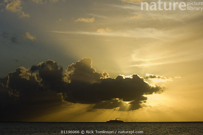 Silhoutte of a cruise ship on the horizon at sunset  ,  CARIBBEAN,CLOUDS,CRUISE LINERS ,SILHOUETTES,SKIES,SKY,SUNSET,Sunshine,Weather,BOATS  ,  Rick Tomlinson