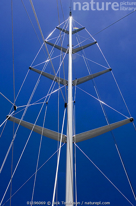 """SY """"Adele""""'s main mast and rigging, 2006.  Non editorial uses must be cleared individually.  ,  BLUE,BOATS,crosstrees,cross trees,KETCHES,LOW ANGLE SHOT,MASTS,RIGGING,ROPES,SAILING BOATS,SUPERYACHTS,VERTICAL,wires,YACHTS, SAILING-BOATS ,BOAT-PARTS, SAILING-BOATS , SAILING-BOATS , SAILING-BOATS , SAILING-BOATS , SAILING-BOATS  ,  Rick Tomlinson"""