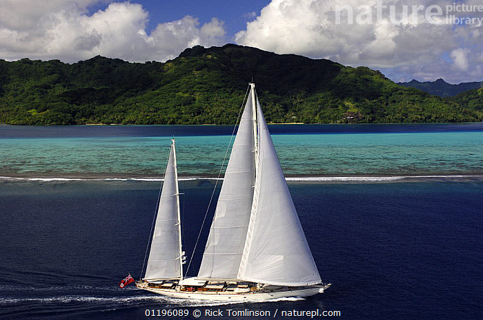 """Aerial view of SY """"Adele"""", 180 foot Hoek Design, underway close to the reef off Huahine Island, French Polynesia, 2006.  Non editorial uses must be cleared individually.  ,  AERIALS,BOATS,COASTS,CORAL REEFS,CRUISING,ISLANDS,KETCHES,LANDSCAPES,PACIFIC ISLANDS,SAILING BOATS,SUPERYACHTS,TROPICAL,YACHTS,Marine,FRENCH POLYNESIA, SAILING-BOATS , SAILING-BOATS , SAILING-BOATS , SAILING-BOATS , SAILING-BOATS , SAILING-BOATS , SAILING-BOATS  ,  Rick Tomlinson"""