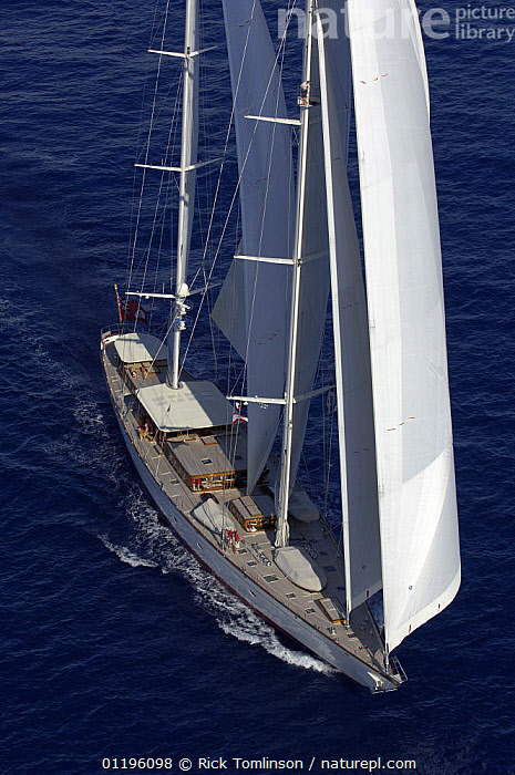 """Aerial view of SY """"Adele"""", 180 foot Hoek Design, underway close to Huahine Island, French Polynesia, 2006.  Non editorial uses must be cleared individually.  ,  AERIALS,BOATS,FRONT VIEWS,KETCHES,PACIFIC ISLANDS,SAILING BOATS,SAILS,SUPERYACHTS,VERTICAL,YACHTS,FRENCH POLYNESIA, SAILING-BOATS , SAILING-BOATS , SAILING-BOATS , SAILING-BOATS , SAILING-BOATS , SAILING-BOATS  ,  Rick Tomlinson"""