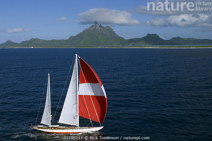 """Aerial view of SY """"Adele"""", 180 foot Hoek Design, underway off Bora Bora Island, French Polynesia, 2006.  Non editorial uses must be cleared individually.  ,  BOATS,COASTS,HORIZONTAL,ISLANDS,KETCHES,LANDSCAPES,MOUNTAINS,PACIFIC ISLANDS,PROFILE,SAILING BOATS,SAILS,SPINNAKERS,SUPERYACHTS,YACHTS,FRENCH POLYNESIA, SAILING-BOATS , SAILING-BOATS , SAILING-BOATS , SAILING-BOATS , SAILING-BOATS , SAILING-BOATS , SAILING-BOATS  ,  Rick Tomlinson"""