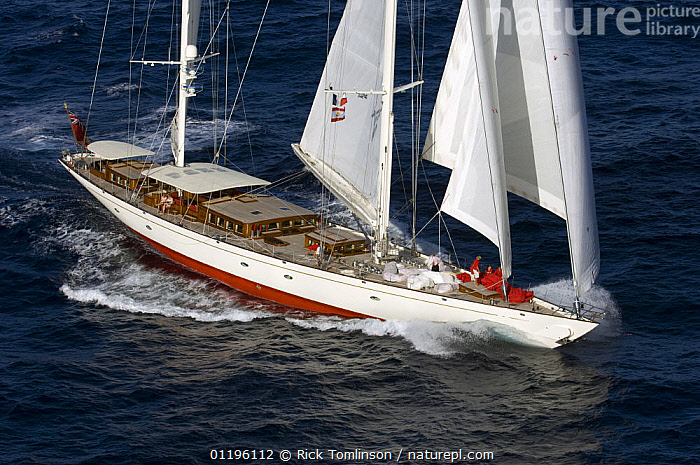"""Aerial view of SY """"Adele"""", 180 foot Hoek Design, underway off Bora Bora Island, French Polynesia, 2006.  Non editorial uses must be cleared individually.  ,  AERIALS,BOATS,BOW WAVE,KETCHES,PACIFIC ISLANDS,SAILING BOATS,SUPERYACHTS,YACHTS,FRENCH POLYNESIA, SAILING-BOATS , SAILING-BOATS , SAILING-BOATS , SAILING-BOATS , SAILING-BOATS , SAILING-BOATS  ,  Rick Tomlinson"""