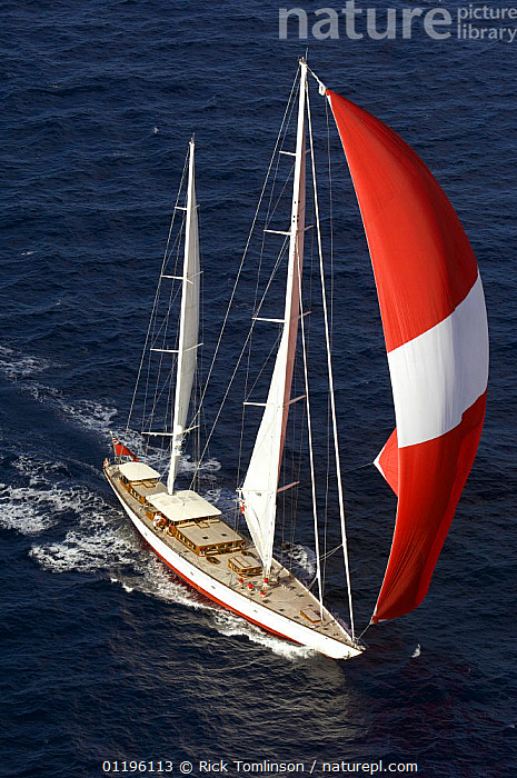 """Aerial view of SY """"Adele"""", 180 foot Hoek Design, underway off Bora Bora Island, French Polynesia, 2006.  Non editorial uses must be cleared individually.  ,  AERIALS,BOATS,FRONT VIEWS,KETCHES,PACIFIC ISLANDS,SAILING BOATS,SPINNAKERS,SUPERYACHTS,VERTICAL,YACHTS,FRENCH POLYNESIA, SAILING-BOATS ,SAILS , SAILING-BOATS , SAILING-BOATS , SAILING-BOATS , SAILING-BOATS , SAILING-BOATS  ,  Rick Tomlinson"""