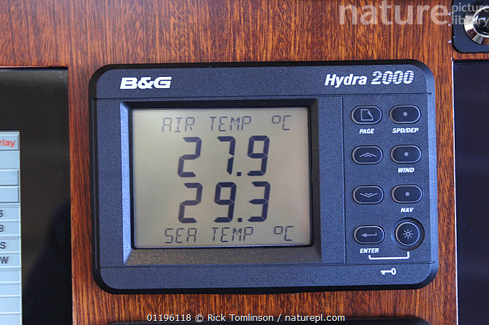 """Digital barometer onboard SY """"Adele"""" showing the air and sea temperature whilst sailing in French Polynesia, 2006.  ,  ABOARD,B&G,BOATS,CLOSE UPS,electronic,electronics,HORIZONTAL,hot,Hydra 2000,INSTRUMENTS,INTERESTING,KETCHES,OCEANS,SAILING BOATS,SUPERYACHTS,TROPICAL,warm,WEATHER,YACHTS, SAILING-BOATS , SAILING-BOATS , SAILING-BOATS , SAILING-BOATS , SAILING-BOATS  ,  Rick Tomlinson"""