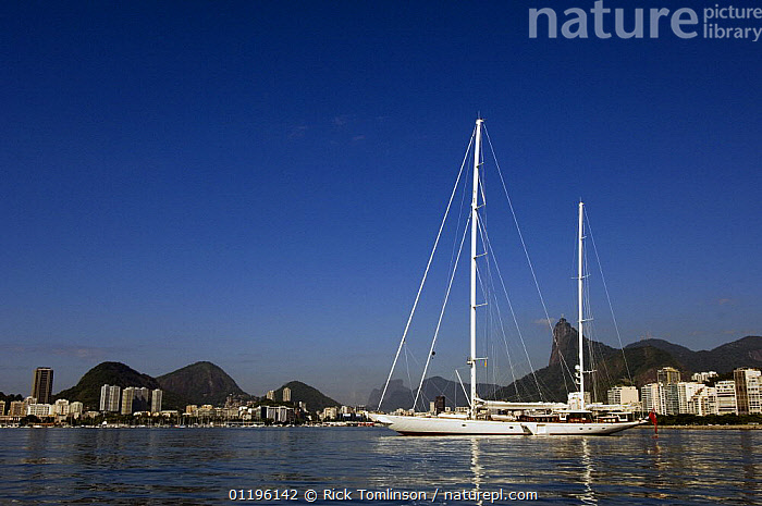 """SY """"Adele"""", 180 foot Hoek Design, anchored in Enseada de Botafogo, Rio de Janeiro, February 2007. Non editorial uses must be cleared individually.  ,  ANCHORAGES,ANCHORED,BOATS,Brazil,CITIES,COASTS,KETCHES,LANDSCAPES,MOORED,MOUNTAINS,PROFILE,SAILING BOATS,SOUTH AMERICA,SUPERYACHTS,YACHTS,SOUTH-AMERICA, SAILING-BOATS , SAILING-BOATS , SAILING-BOATS , SAILING-BOATS , SAILING-BOATS , SAILING-BOATS , SAILING-BOATS  ,  Rick Tomlinson"""