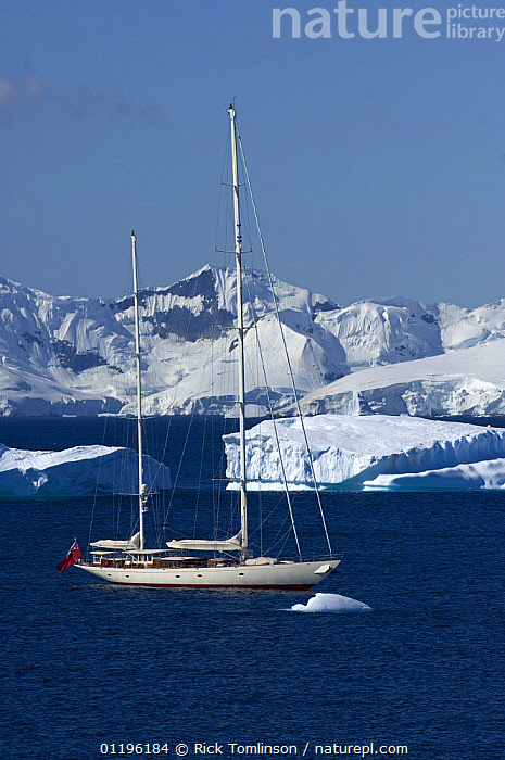 """SY """"Adele"""", 180 foot Hoek Design, motoring past icebergs at Portal Point, Reclus Peninsula, Antarctica, January 2007  Non editorial uses must be cleared individually.  ,  ANTARCTICA,BOATS,COASTS,CRUISING,Gerlache Strait,ICEBERGS,KETCHES,LANDSCAPES,MOUNTAINS,POLAR,PROFILE,SAILING BOATS,SNOW,SUPERYACHTS,VERTICAL,YACHTS, SAILING-BOATS , SAILING-BOATS , SAILING-BOATS , SAILING-BOATS , SAILING-BOATS , SAILING-BOATS , SAILING-BOATS  ,  Rick Tomlinson"""